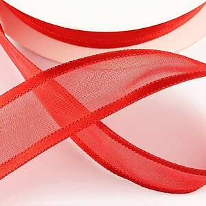 Panglica organza si saten, latime 2,5cm (1m) - rosu