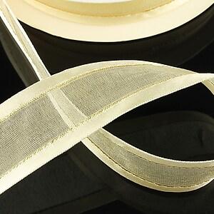 Panglica organza si saten cu fir auriu, latime 2,4cm (1m) - crem