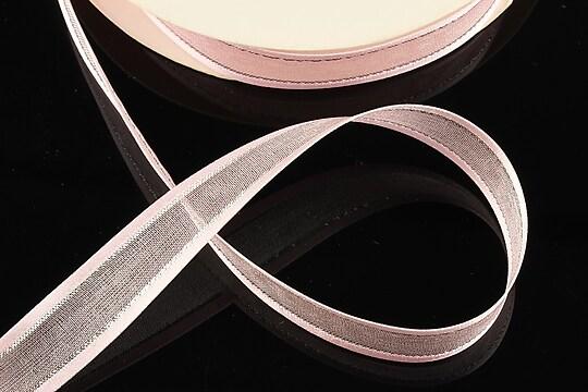 Panglica organza si saten cu fir argintiu, latime 1,4cm (1m) - roz