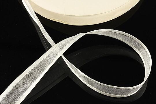 Panglica organza si saten cu fir argintiu, latime 1,4cm (1m) - alb