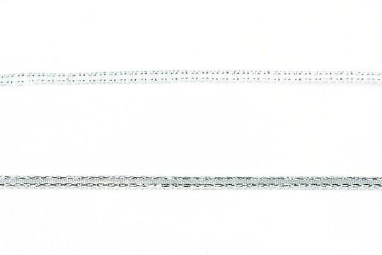 Panglica saten cu fir argintiu, latime 0,4cm (1m) - bleu