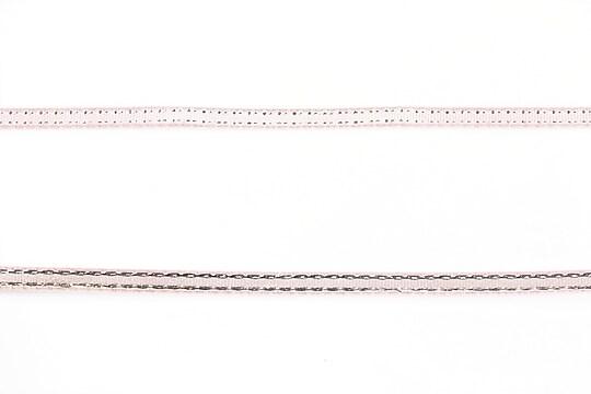 Panglica saten cu fir argintiu, latime 0,4cm (1m) - roz