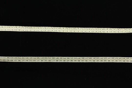 Panglica saten cu fir argintiu, latime 0,4cm (1m) - ivory
