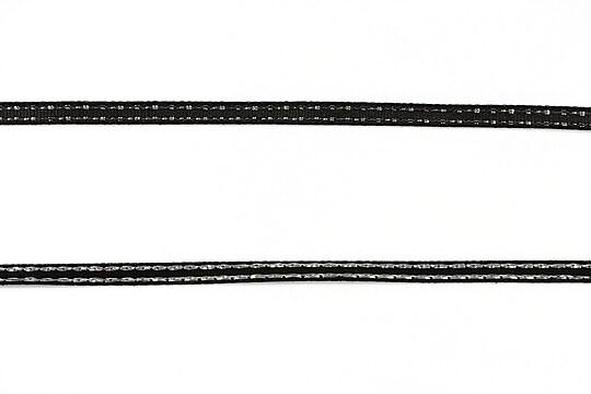 Panglica saten cu fir argintiu, latime 0,4cm (1m) - negru