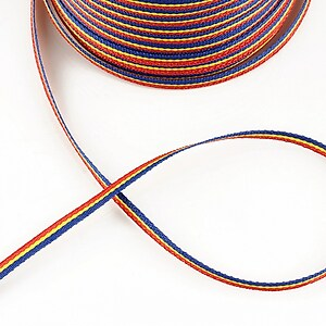Panglica tricolor material textil, latime 0,3cm (1m)