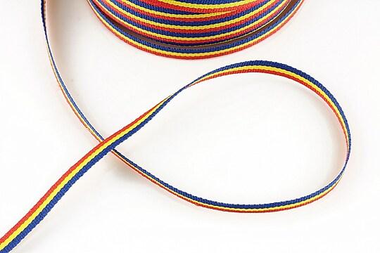 Panglica tricolor material textil, latime 0,5cm (1m)