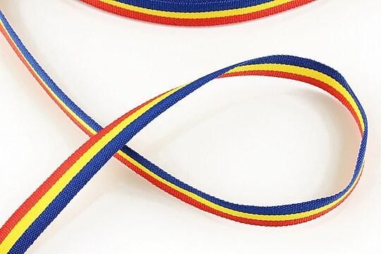 Panglica tricolor material textil, latime 1cm (1m)