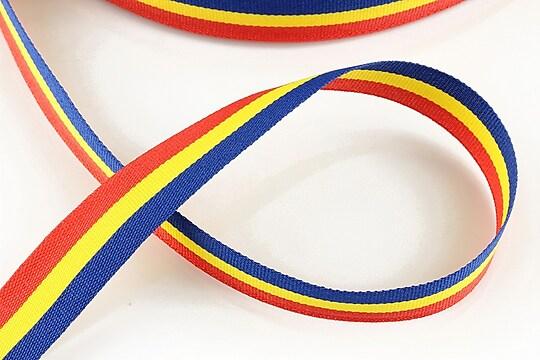 Panglica tricolor material textil, latime 1,5cm (1m)