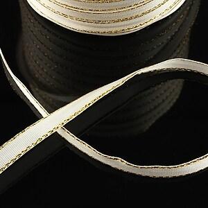 Panglica saten alba cu fir auriu, latime 0,7cm (1m)