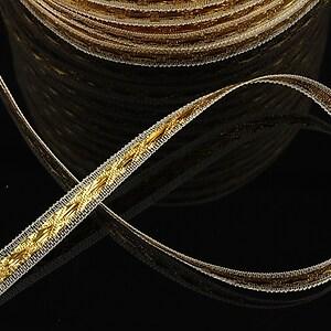 Panglica cu fir auriu, latime 0,7cm (1m)