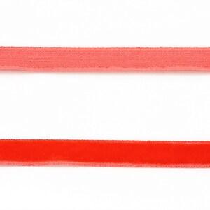 Panglica aspect catifea rosie, latime 1cm (1m)