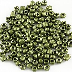 Margele de nisip 4mm cu efect frosted (50g) - cod 383 - verde kaki