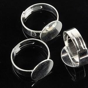 Baza de inel argintie, reglabila, cu platou 12mm