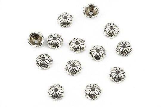 Capacele margele argintiu antichizat 7x3mm