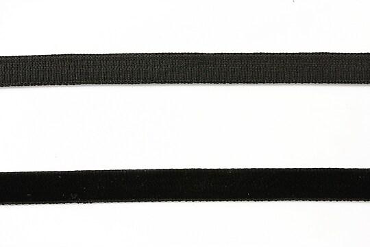 Panglica aspect catifea negru, latime 1cm (1m)