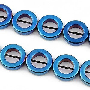 Hematit electroplacat 14mm - albastru