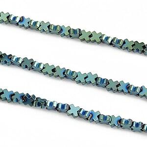 Hematit electroplacat 4mm - verde albastru