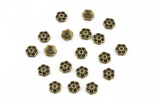 Capacele margele bronz floare 5x2mm