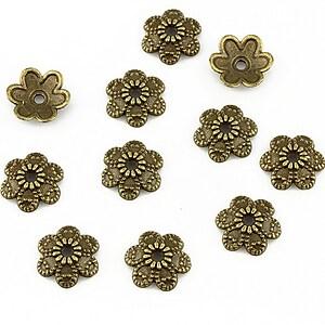Capacele margele bronz floare 9x2mm