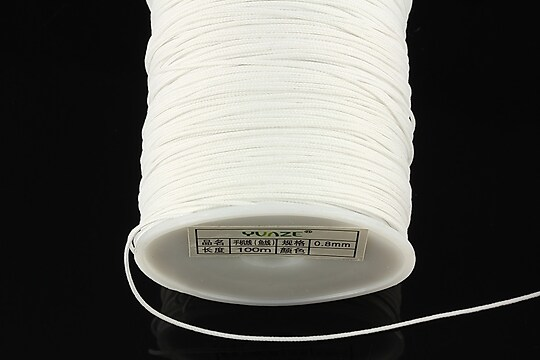 Snur nylon cu guta in interior, grosime 0,8mm, rola de 100m - alb