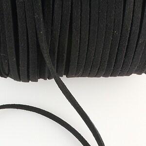 Snur suede (imitatie piele intoarsa) 3x1mm, negru (1m)