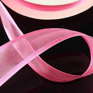 Panglica organza si saten, latime 2,5cm (1m) - roz bonbon