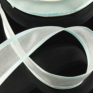 Panglica organza si saten, latime 2,5cm (1m) - albastru deschis