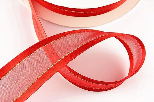 Panglica organza si saten cu fir auriu, latime 2,4cm (1m) - rosu