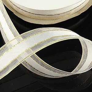 Panglica organza si saten cu fir auriu, latime 2,3cm (1m) - alb
