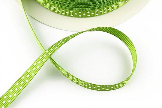 Panglica material textil verde cu buline albe, latime 1cm (1m)