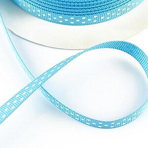 Panglica material textil albastru cu buline albe, latime 1cm (1m)