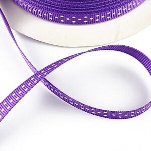 Panglica material textil mov cu buline albe, latime 1cm (1m)