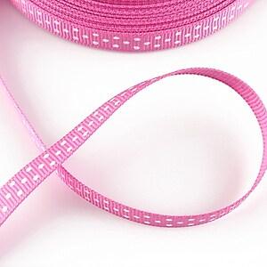 Panglica material textil roz cu buline albe, latime 1cm (1m)