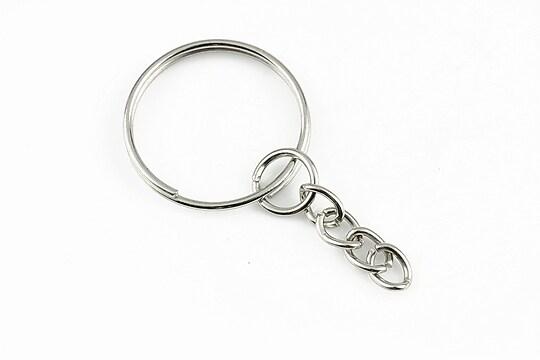 Inel breloc argintiu inchis, cu lant, diametru 22mm