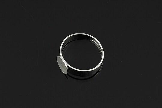 Baza de inel argintie, reglabila, cu platou 8mm