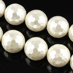 Perle tip Mallorca albe fatetate sfere 14mm