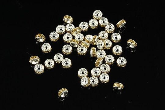 Distantiere argintii cu rhinestones crem 4mm (rondele 2x4mm)