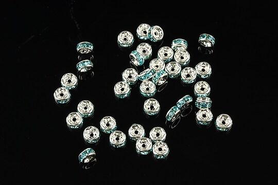 Distantiere argintii cu rhinestones bleu 4mm (rondele 2x4mm)