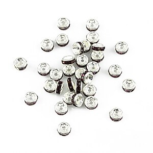 Distantiere argintii cu rhinestones mov 4mm (rondele 2x4mm)
