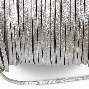 Snur faux suede latime 3mm (1m) - argintiu cu efect de piele