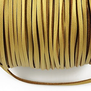 Snur faux suede latime 3mm (1m) - auriu cu efect de piele