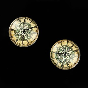 "Cabochon sticla 16mm ""Old Clock"" cod 625"