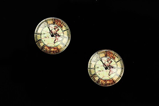 "Cabochon sticla 16mm ""Old Clock"" cod 627"