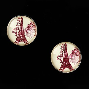 "Cabochon sticla 16mm ""Vintage Paris"" cod 633"