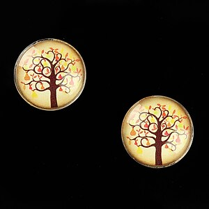 "Cabochon sticla 16mm ""Tree of Life"" cod 638"