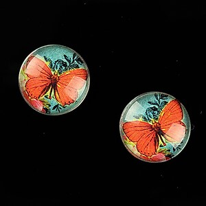 "Cabochon sticla 16mm ""Amazing Butterfly"" cod 643"