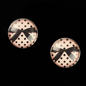"""Cabochon sticla 16mm """"Pink Chic"""" cod 644"""