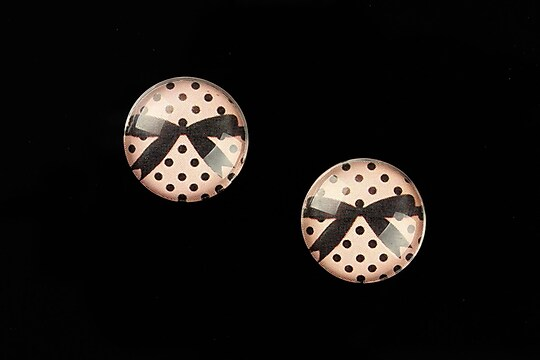 "Cabochon sticla 16mm ""Pink Chic"" cod 644"