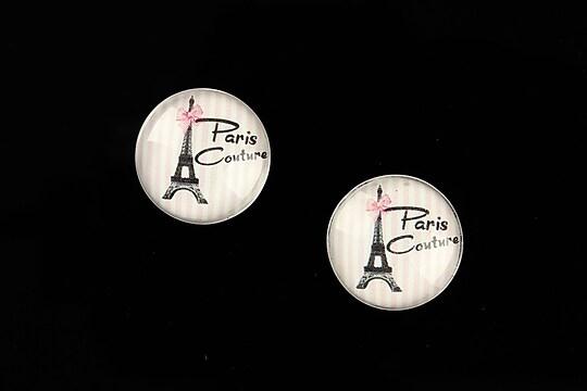 """Cabochon sticla 16mm """"Pink Chic"""" cod 647"""