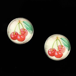 "Cabochon sticla 16mm ""Sweet as a Cherry"" cod 648"